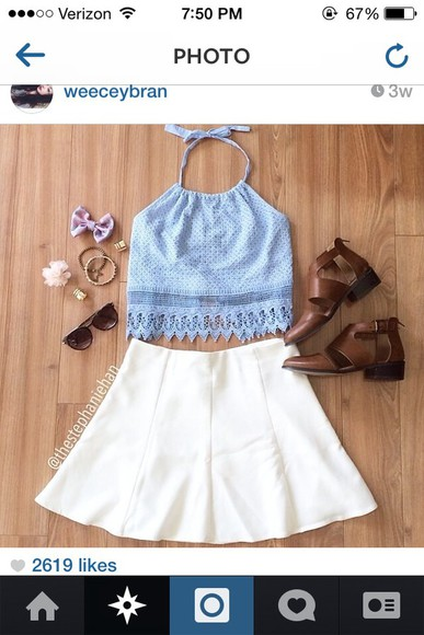 blouse blue shirt halter top