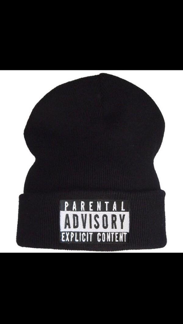 hat black black hat black and white white parental advisory explicit content fashion celebrity rihanna tumblr tumblr girl