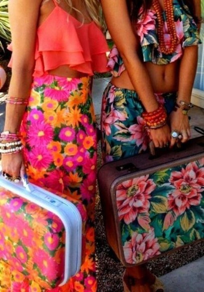 pants crop tops floral vacation look crop maxi skirt skirt blouse