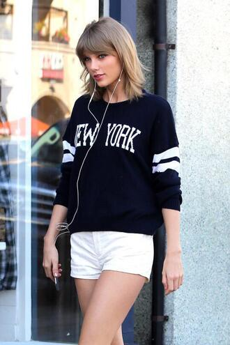 sweater new york city new yorker sweatshirt hipster casual celebrity style it girl shop black black sweater taylor swift white denim streetwear lookbook baseball tee baseball jacket denim shorts fashion