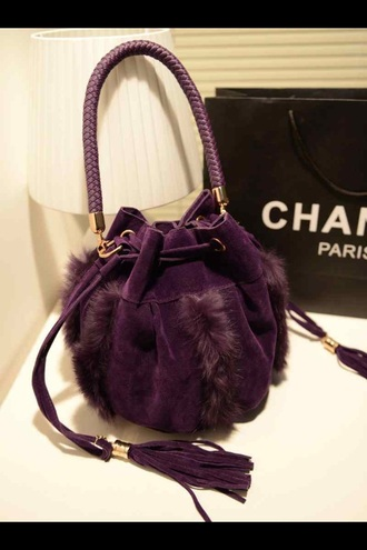 bag purple bucket bag fringed bag fringes plum fall accessories