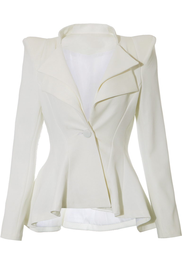 Double Lapel Fit-and-flare Blazer - White - Lookbook Store