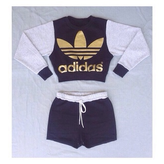 cropped sweater black and gold adidas sweater adidas originals sports shorts sportswear