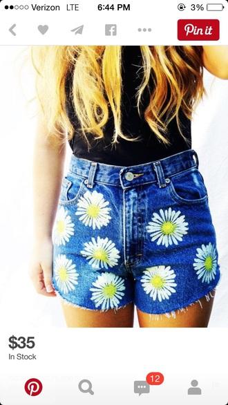 shorts high waisted shorts style summer shorts daisy blouse