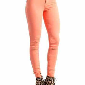 high-waisted skinny jeans $34.50 in CORAL GREEN JADE LEMON LTGREEN ROYAL - New Bottoms | GoJane.com on Wanelo