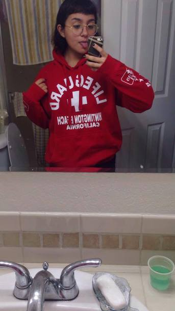 top hoodie lifeguard red tumblr outfit