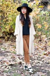 it's not her it's me,blogger,blouse,pants,felt hat,cardigan,rust,sweater,coat,bag,hat,shoes