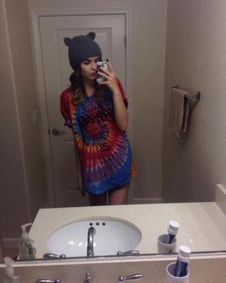 shirt die dye acacia brinley blue red cool style girl girl shirts t-shirt