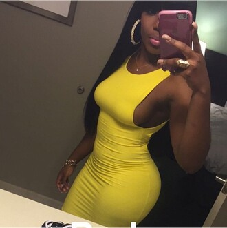 dress yellow bright tight maxi dress cute open sides