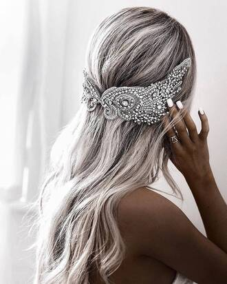 hair accessory tumblr silver accessories accessory platinum hair long hair nail polish nails white nails