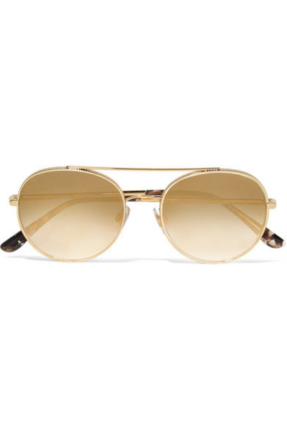 Dolce & Gabbana - Aviator-style Gold-tone Sunglasses