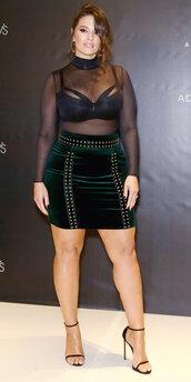 blouse,bra,mini skirt,top,sheer,sandals,ashley graham,underwear,velvet,velvet skirt,curvy,plus size