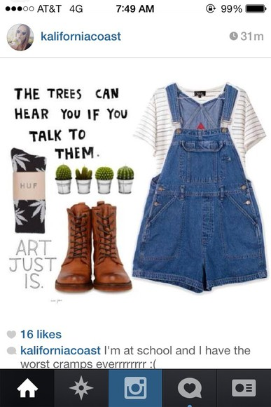 shorts overalls denim hipster girl girly combat boots crop tops