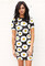 Short sleeve daisy print bodycon dress in black, white & yellow