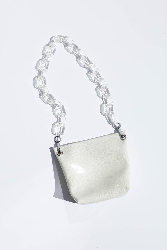 Ziggy Bag W/ Clear Handles - Cream Glitter