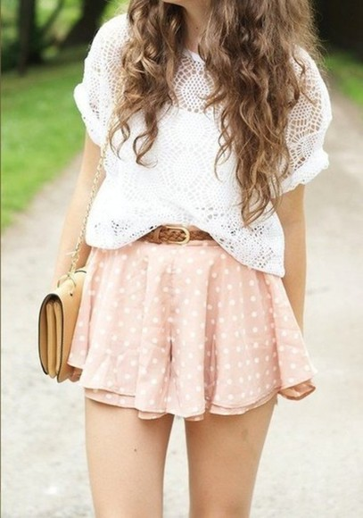 blouse shirt fashion skirt dots, peach