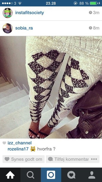 leggings white black sequin leggings