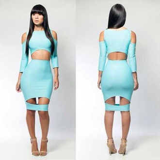 dress baby blue cut out bodycon dress baddies boss bodycon dress bandage dress blue dress sexy dress lingerie clubwear clothes womens dress awesome!