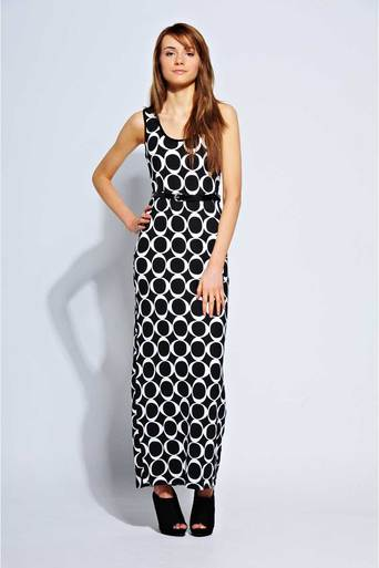Ladies Rheta Oval Motif Belted Maxi Dress | Pop Couture