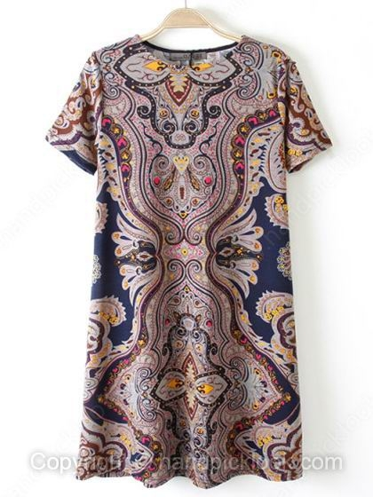 Navy Round Neck Short Sleeve Vintage Pattern Print Dress - HandpickLook.com