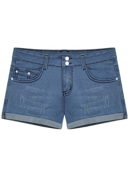 Women's light color straight denim slim fit shorts online