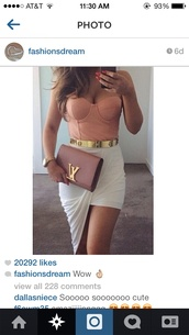 dress,asymmetrical,white skirt,louis vuitton,clutch,pink bag,bustier,strapless,nude top,mini skirt,party outfits,summer outfits,blouse,top