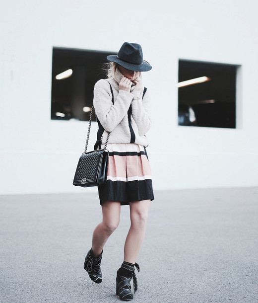 happily grey blogger hat bag fuzzy sweater studded shoes striped skirt coat cardigan skirt shoes jewels