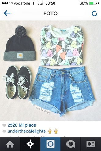 t-shirt ice cream tee-shirt outfit outfitideas beanie jeans shirt pink