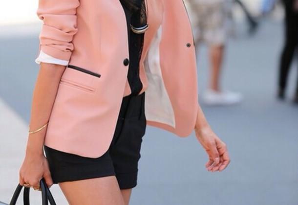 jacket pink black classy blazer