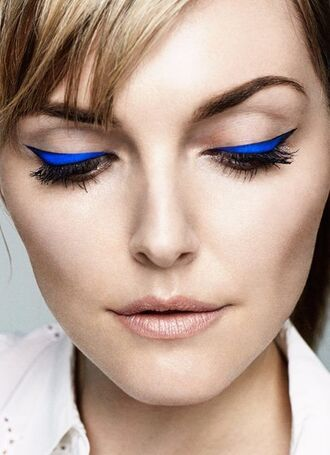 make-up electric blue electric blue liner liner brows winged eyeliner nude lipstick eyeliner