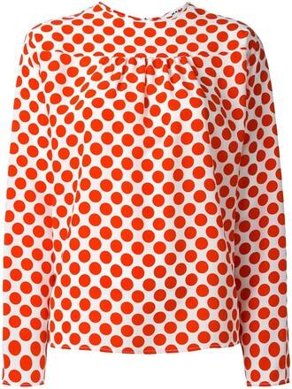 blouse women polka dots white print silk top