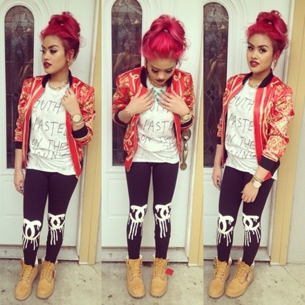 pants leggings red jacket chanel jacket jacket