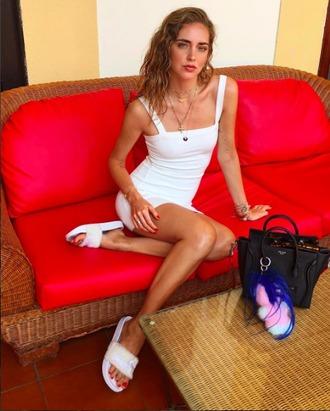the blonde salad blogger shoes slippers white dress chiara ferragni bodycon dress black bag prada