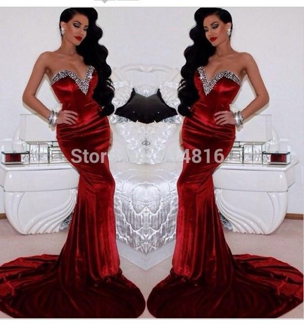 Aliexpress Com Buy Stunning Crystals Beaded Sweetheart Mermaid Red