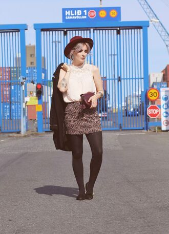 like a riot blogger hat jewels coat top bag skirt
