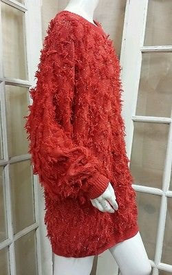 Free Shipping in USA // WELCOME FALL // Vintage Red Metallic Fringed Long Sleeve Oversized Sweater by La Costa // Dramatic Color // Fun