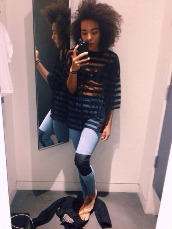 jeans skinny colorblock shirt