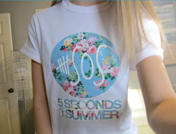 t-shirt 5 seconds of summer flowers 5 seconds of summer