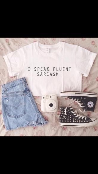 shirt crop tops white shirt shorts shoes t-shirt quote on it converse instagram etsy white t-shirt fluent sarcasm