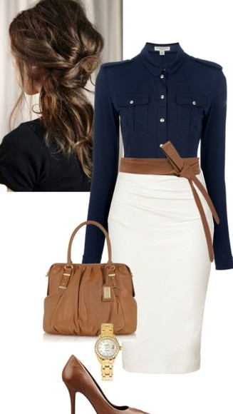 casual gorgeous something similliar ? navy shirt cream pencil skirt work style relaxed victoria beckham style