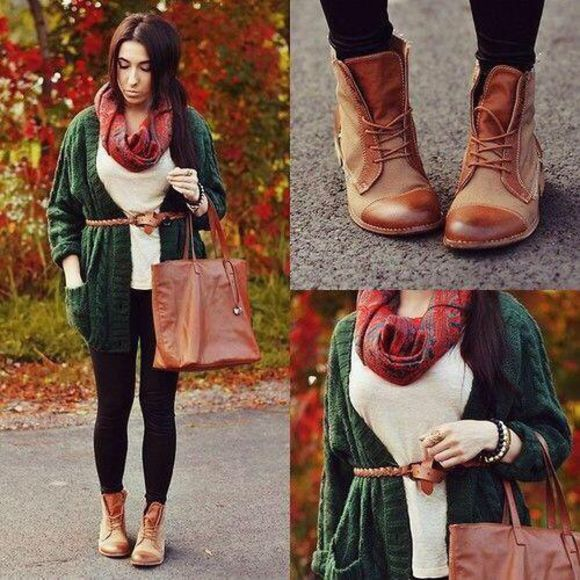 cardigan shoes boots cloth and leather fall outfits lace up ankle boots