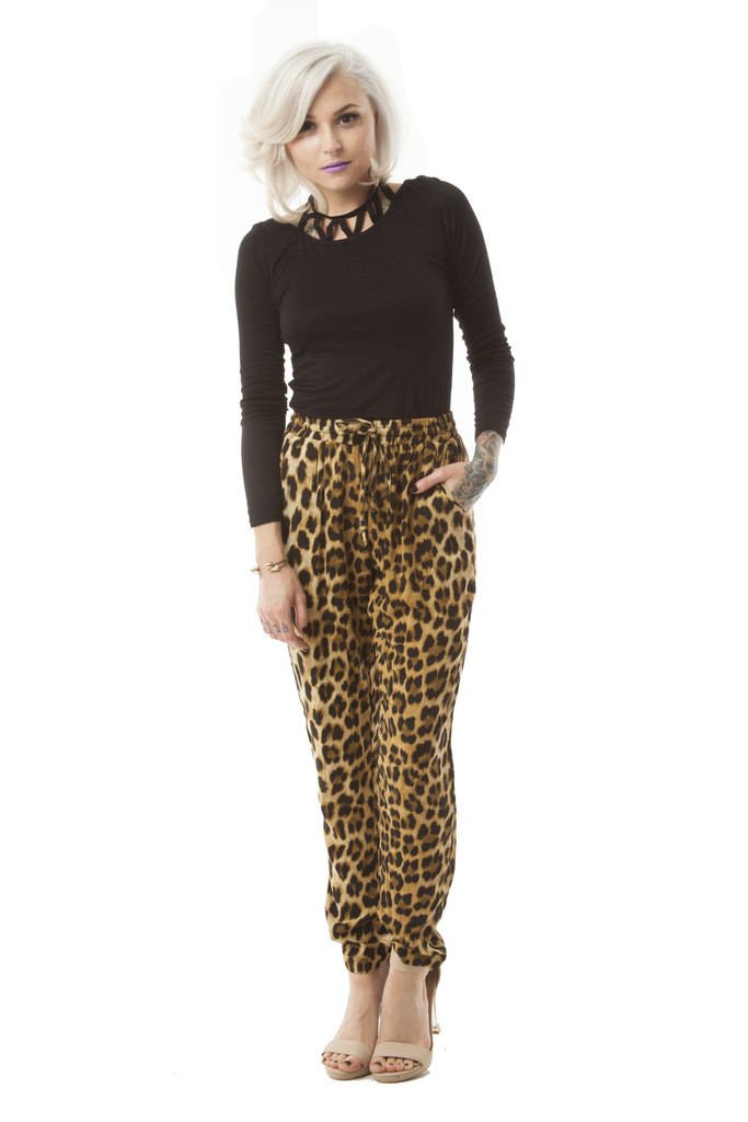 Kate Drawstring Pants in Leopard – Wunderlust
