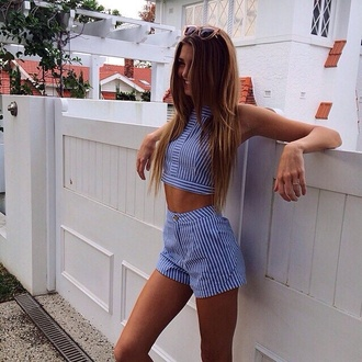 jumpsuit blue shorts blue shirt summer top summer shorts style fashion pretty