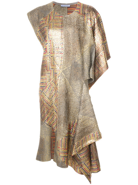 dress patchwork women grey metallic
