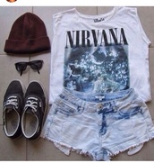 shirt,pink,cute,shorts,shoes,hat,hand,bag,denim,sunglasses,earrings,drop,bracke,90s style,beanie,vans,rock,outfit,nirvana t-shirt,crop tops,grunge,t-shirt,girly,nirvana