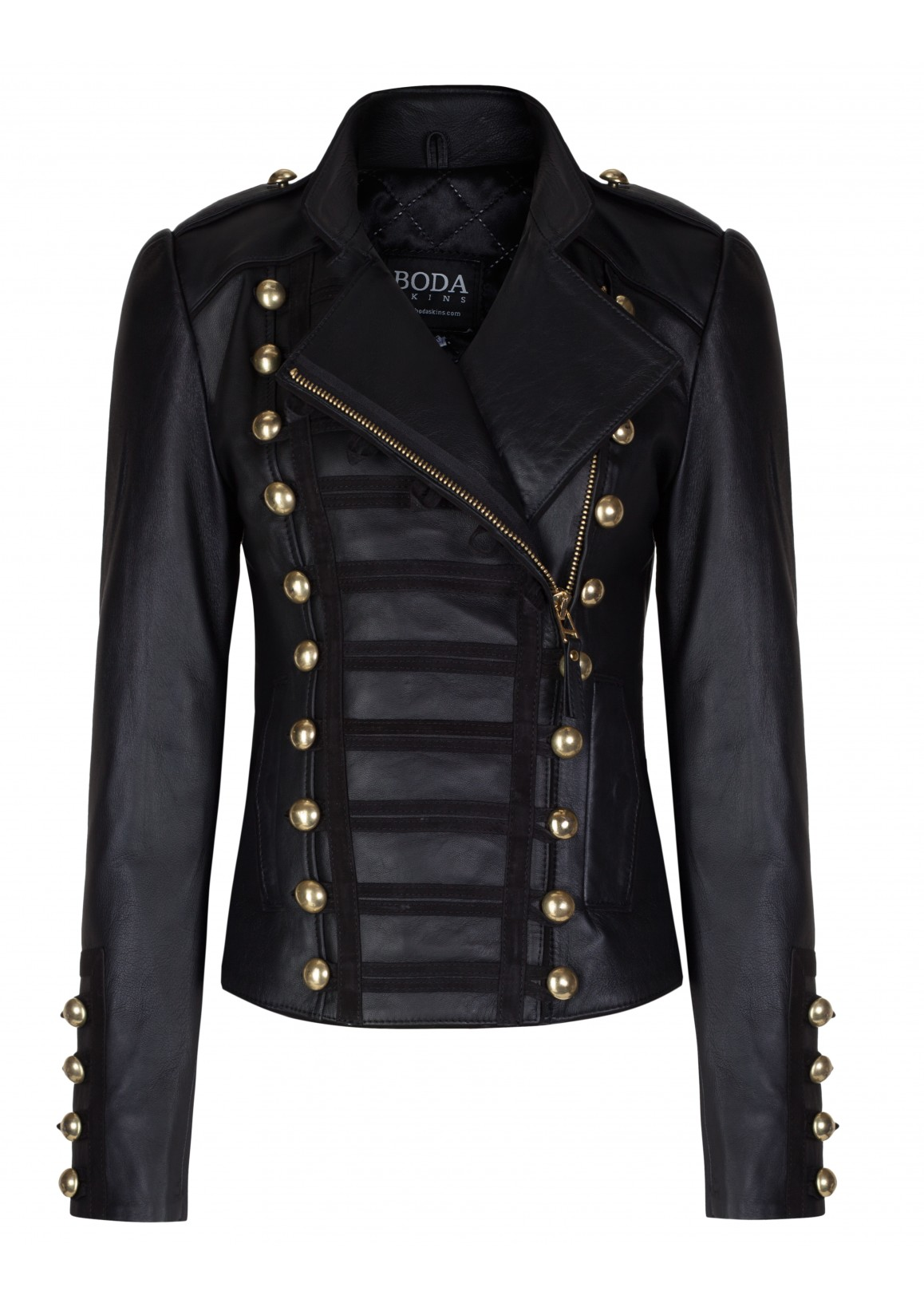 Oil Black Gold Hardware Womens Leather Military Jacket - Boda Skins