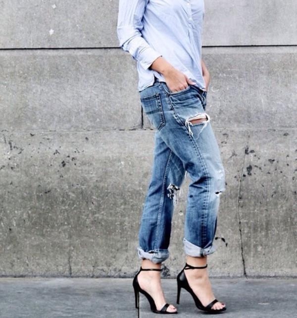 jeans boyfriend jeans ripped jeans ripped jeans shirt high heels black shoes