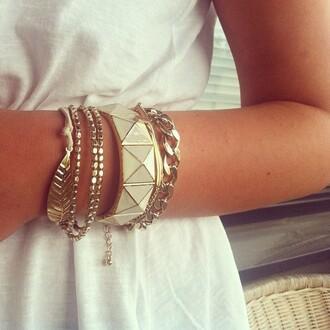 jewels gold bracelets feathers