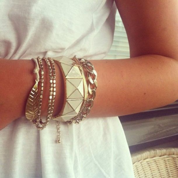 jewels gold bracelets feathers