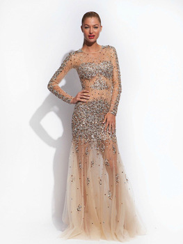 Aliexpress.com : Buy Stunning Handmade Celebrity Dresses 2015 vestidos de fiesta Shining See Through Sequins Long Tulle Celebration Dresses On Sale from Reliable dress cold suppliers on DressHome